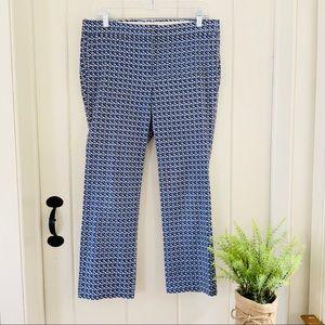 J CREW Blue & Navy Geometric Print Cropped Pants